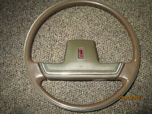 1978 Oldsmobile Cutlass Ciera Tan Plastic Steering Wheel w/ Brown Center Pad OEM