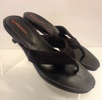 Prada Womens Black Sandals Heels Size 6 Low Heels Leather Sole Made In Italy