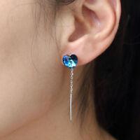 Solid 925 Sterling Silver Blue Crystal Gemstones Jewelry Stud Drop Earrings Gift