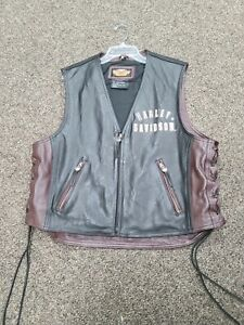 Harley Davidson XL leather vest 95th Anniversary black and brown