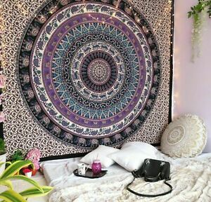 QUEEN WHITE FLORAL ELEPHANT MANDALA TAPESTRY COTTON BEDSHEET THROW WALL HANGING