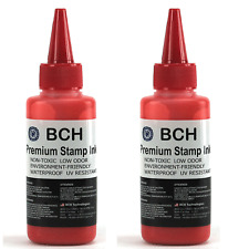 BCH Premium Stamp Ink Refill for Stamps or Stamp Pads 2 X 2.5 oz RED