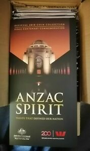 Official 2018 ANZAC SPIRIT Coins collection Folder. brand new, 19 are available