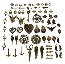 grand lot steampunk breloques pendentifs engrenages aiguilles coeur fée fleur