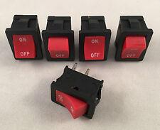 5 pcs ARE Red Rocker Switch 6A 125V 3A 250V ON-OFF Button 2 Pin SPST Electronics