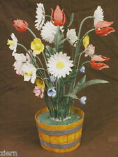 Antique Tole Hand Painted Flowers in a Pot Signed Italy