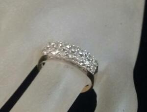 14K 2-tone Solid Gold 1/3 Ct. Lab-created Diamond Half Eternity Band Ring Sz  8