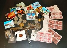 """New listing Junk Drawer Lot - """"Not Junk"""" Coins, Rings, Stamps, Knife Misc."""