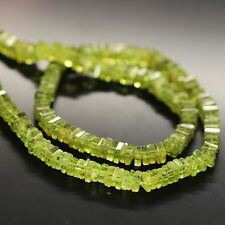 Arizona Green Peridot Smooth Heishi Cube Square Loose Gem Beads Strand 4mm 16""