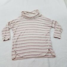 Lou & Grey Turtleneck Cowl Neck M Striped White Pink 3/4 Sleeve Top Sweater