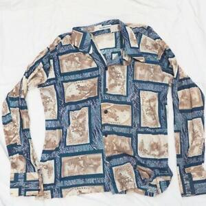 Vtg Bon Homme Disco Button Down Polyester Shirt 1970's Mens Size XL