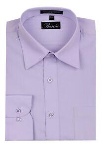 Men's Basilio Italian Design Solid Long Sleeve Convertible Cuff Dress Shirt