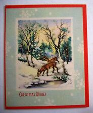 Deer at stream edge in winter woods Christmas vintage greeting card  G2