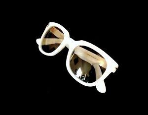 Tom Ford Campbell Sunglasses TF 198 White Tortoiseshell Marble Orange Lenses