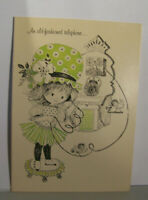 Vintage Greeting Card Norcross Informal An Old Fashioned Telephone Girl Bird