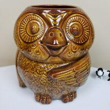 McCoy Owl Ceramic Planter Vintage Mid Century Modern Brown Vase Large heavy