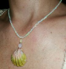 Hawaii Sunrise shell Ethiopian fire Opal Necklace