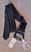 """Black Patent Leather Stretch Belt Size M/L 36.5"""" Long 2"""" Wide NWT Betsey Johnson"""
