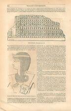 Egypte Table d'Abydos Portrait Ramsès Bas-Relief Palais de Karnak GRAVURE 1849