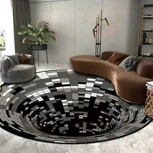 3D Printed Round Vortex Illusion Pattern Anti-slip Carpet Mat Door Mat