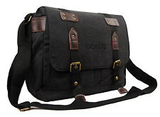 Mens Womens Black Messenger Satchel Uni Work College School Holdall Shoulder Bag