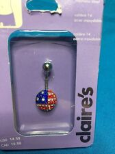 Steel Round American Flag Belly Ring O 00006000 ne New Claire's 14 Gauge Stainless