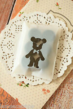 Cute Bear white cello cookie bag kawaii plastic sweet party packaging gift wrap