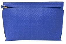 LOEWE Large blue textured leather pouch