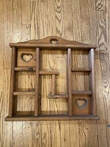 VINTAGE WOODEN WALL SHELF WITH HEART CUT OUTS 20x20x2