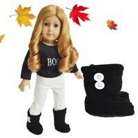 "Doll Clothes 18"" Boots Knit Black Fits American Girl Dolls"