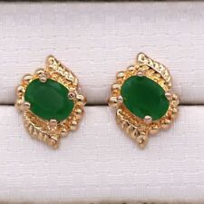 Pretty New 18K Yellow Gold Plated Emerald Green Oval CZ Stud Earrings