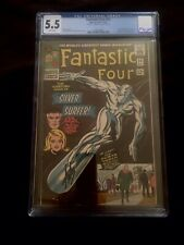 Fantastic Four #50 cgc 5.5 Signed Stan Lee White Pages Silver Surfer V Galactus