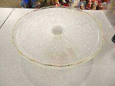 Crystal Cake Pedestal Stand ~ Gold Trim Harp ~ Jeannette Depression Glass