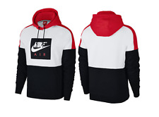 NWT MEN'S NIKE AIR PULLOVER HOODIE RED WHITE BLACK AWESOME STYLE SIZE LARGE
