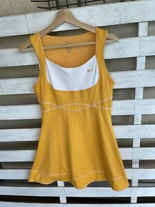 Never Worn Womens Nike Marigold Yellow White Tennis Dress Size  M