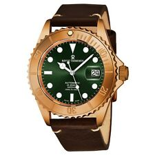 Revue Thommen Men's Diver Green Dial Brown Leather Automatic Watch 17571.2594