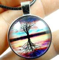 Vintage life tree Cabochon Tibetan silver Glass Chain Pendant Necklace K7