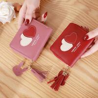 Elegant Leather Women's Wallet Heart Tassel Zipper Wallet Coin Purse Card Holder