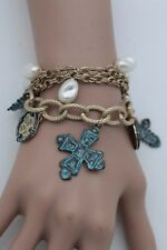 Women Bracelet Gold Metal Chunky Chain Link Fashion Jewelry Turquoise Blue Cross