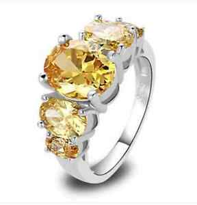 Silver Citrine Cocktail Ring Size 10 11 12 13 Canary Yellow CZ Simulated Plated