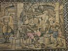 Vintage Tapestry France Great Scene Victorian Renaissance Towns People 39.5x30
