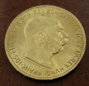 Austria 1915 Gold 20 Corona UNC Franz Joseph I