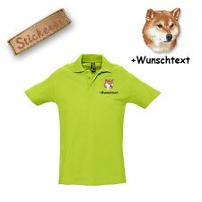 Camiseta Polo Algodón Bordado Perro Shiba + Texto personalizado