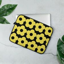 laptop case sleeve bag 13 inch yellow flowers black background