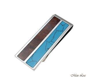 Stainless Steel Genuine Hawaiian Koa Wood Turquoise 20mm Money Clip Cash Holder