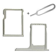 Para HTC One M8 Plata Sim y Micro SD Memoria Card Tray Slot Titular + Eject Pin