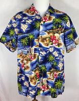 RJC Hawaiian Islands Shirt Aloha Made in USA Mens XL X-Large Floral Palm Trees