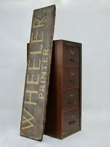 HUGE ANTIQUE VINTAGE RECLAIMED SALVAGED ARTISAN HAND PAINTED PRINTER SIGN NOTICE