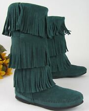 EUC * Minnetonka 3 Layer Fringe Mid-Calf Boot * Soft Suede GREEN Leather ~Size 6