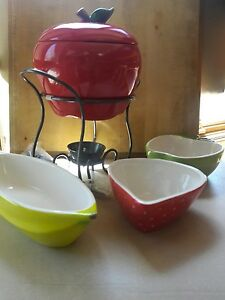 Collections Etc. New Fondue Apple with 3 bowls to dip!
